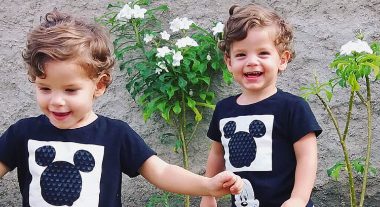 Happy children: twin boys
